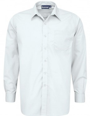 White and Blue Long Sleeve Shirts - Twin Pack (7021)