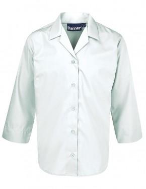 3/4 Sleeve Open Neck School Blouse - Twin Pack (7082)