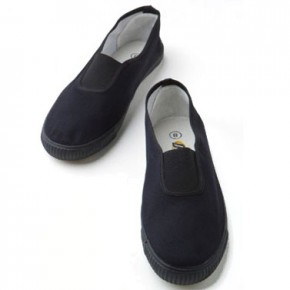 Black Slip On School Plimsolls (7231B)