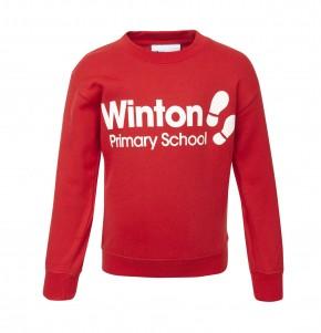 Winton Primary School Red Sweatshirt with Printed Logo (9050)